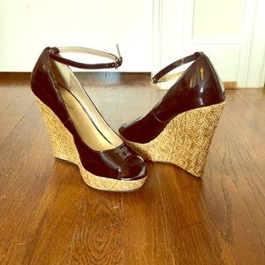Patent leather peep toe pumps with ankle strap